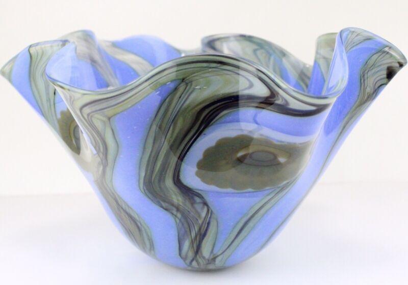 Robert Eickholt Studio Art Glass Bowl Signed 2006 Hand Blown Blue Ruffled Edge