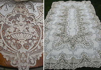 """Antique Needle Lace Point de Venice Embroidered Tablecloth, Italy, 122"""" by 70"""""""
