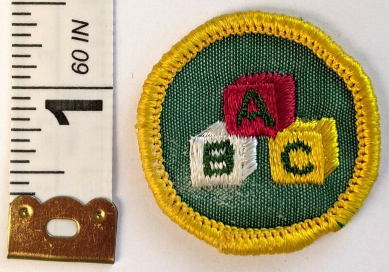 Child Care Cadette Girl Scout Badge - Cheesecloth, Yellow Border - ABC Blocks