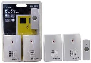 UNICOM TWIN PACK WIRELESS CORDLESS DOOR BELL CHIME - 100m RANGE - PORTABLE