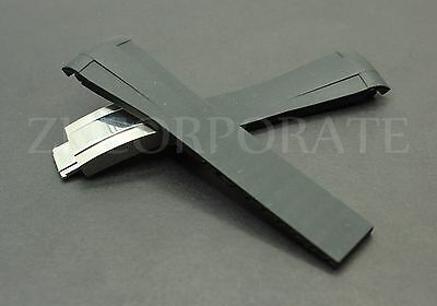 20mm rubber black strap band Deployment clasp buckle replacement For Sub Daytona