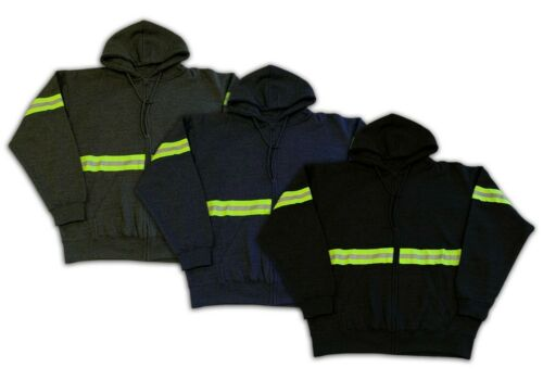 Hoodie Reflective High Visibility Hi Vis Safety Zip Front Work Clothes Uniform