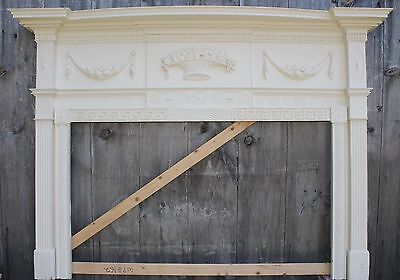 - 18th Century Fireplace Mantel Chip Carved Pinwheels, Ovals, W Added Swags,Basket