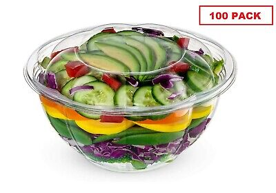 32oz Salad Bowls To-go With Lids 100 Count Clear Plastic Disposable Containers