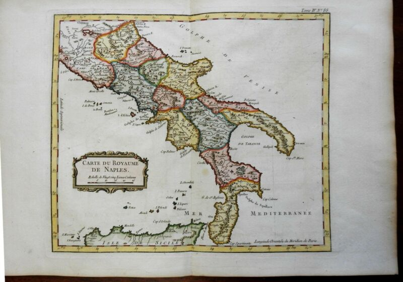 Kingdom of Naples Southern Italy Sicily Calabria Apulia 1760 Bellin map