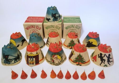 11 Vintage Christmas WHIRL-GLO Spinning Light Shades with Scenes, 3 Boxes & Caps