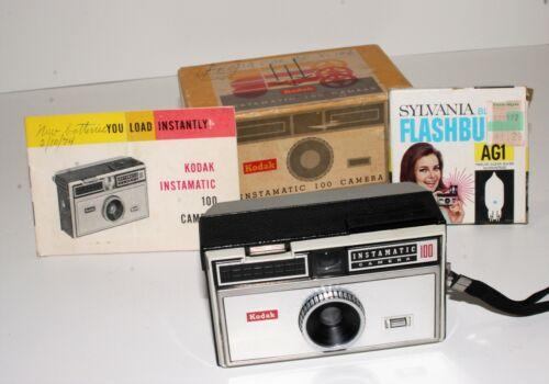 Kodak Instamatic 100 Camera with Original Box, Flash Bulbs, and Manual