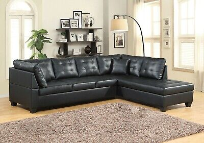 Modern Leather Sectional Sofa Chaise Couch Set Soft Living Room Furniture -