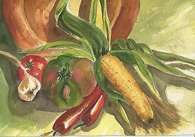 AUTUMN SEASON GARDEN VEGETABLES CORN TOMATO FRUIT SHALLOT CHILI PEPPERS PAINTING