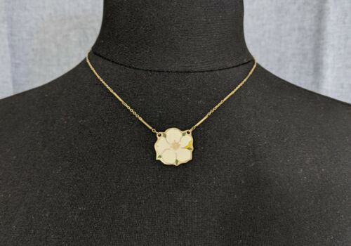 Lovely Vintage Delicate Chain Enamel Pendant Necklace by Cloisart Jewellery