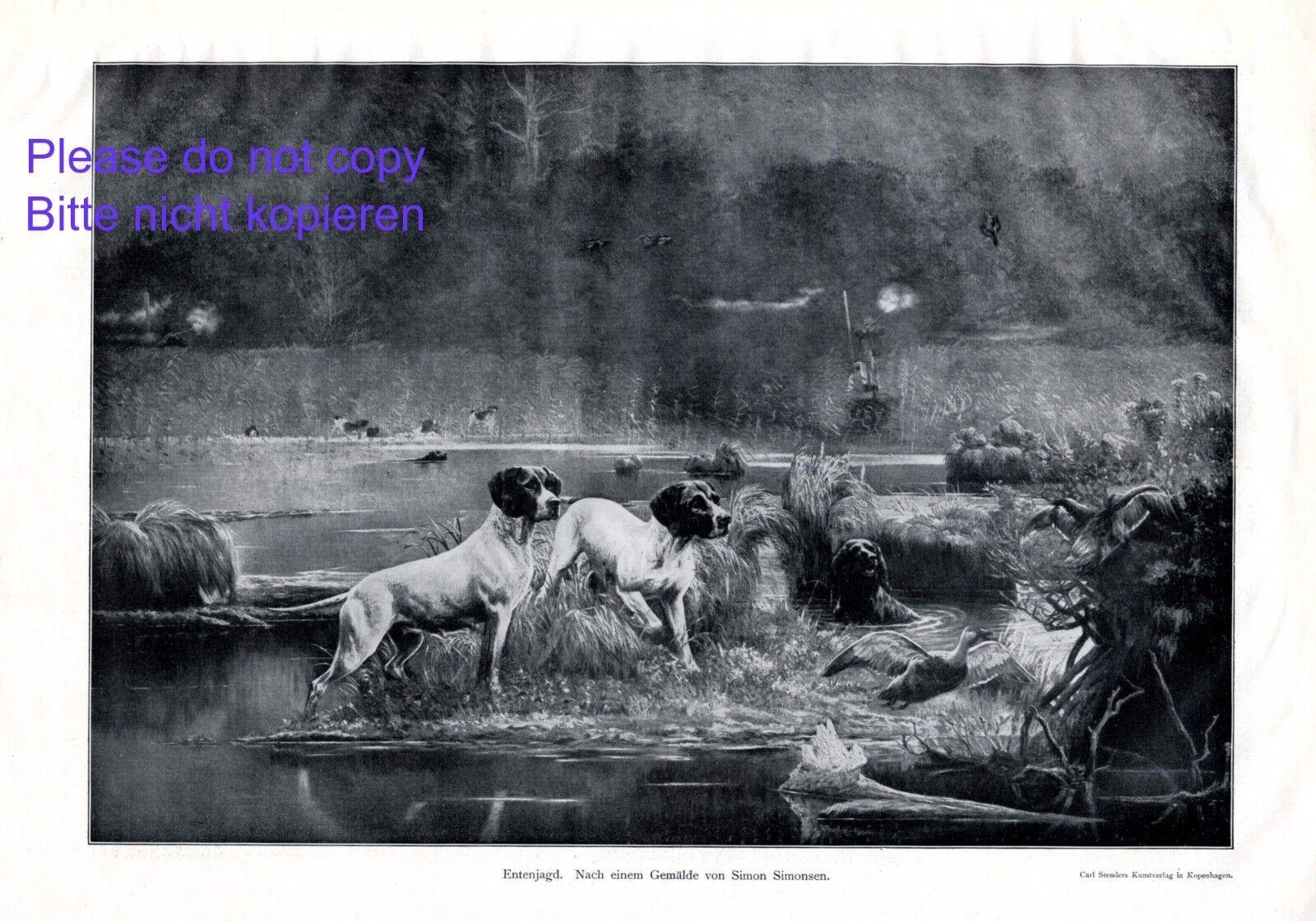 Die Entenjagd XL Kunstdruck 1910 Simon Simonsen Jagdhund Jäger Schuß Weiher Ente