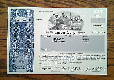 *RARE* Enron Corp. Stock Certificate with Fraudster Ken Lay's Signature MINT!!!