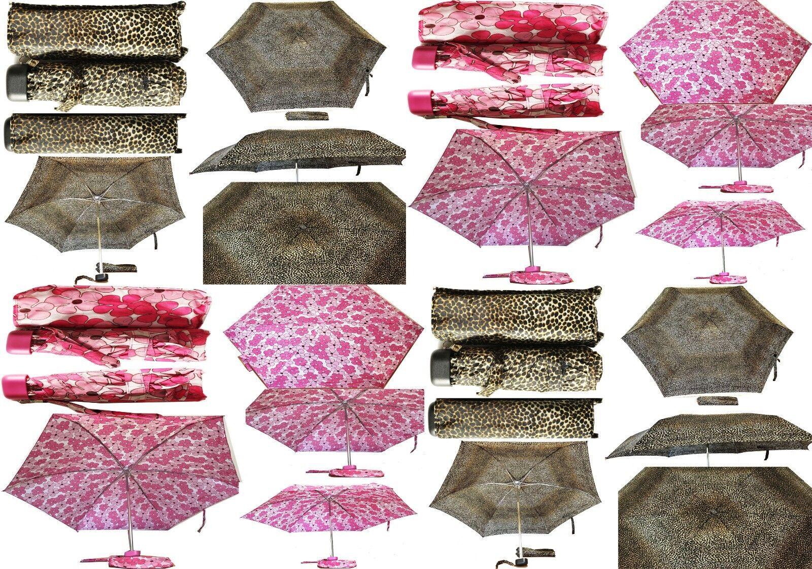 Ladies Small Pocket Compact Folding Mini Umbrella Leopard &