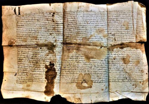 1372 - MEDIEVAL PARCHMENT CHARLES V & GREGORY XI ERA Handschriften auf Pergament