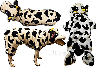 Black & White Cow Dog Costume Jumpsuit W Hood Comfortable Fleece S M Halloween - Easy Halloween Costumes For Dogs