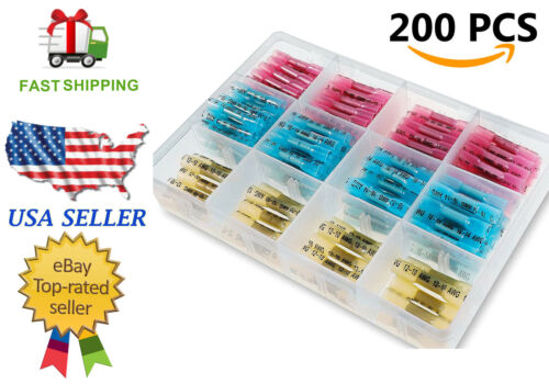 200pc Insulated Wire Butt Connector Heat Shrink Waterproof Crimp Splice Terminal