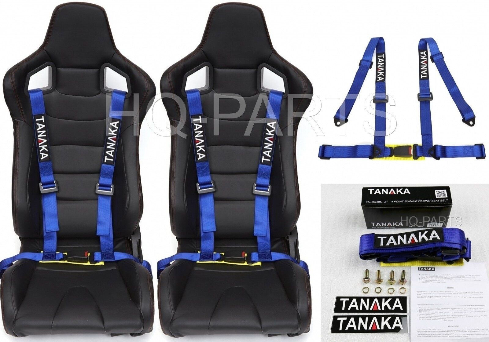 2 X TANAKA UNIVERSAL BLUE 4 POINT BUCKLE RACING SEAT BELT HARNESS