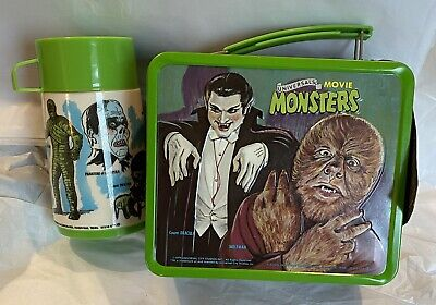 1979 Universal Movie Monsters Aladdin Metal Lunchbox with Tag & Thermos Vintage