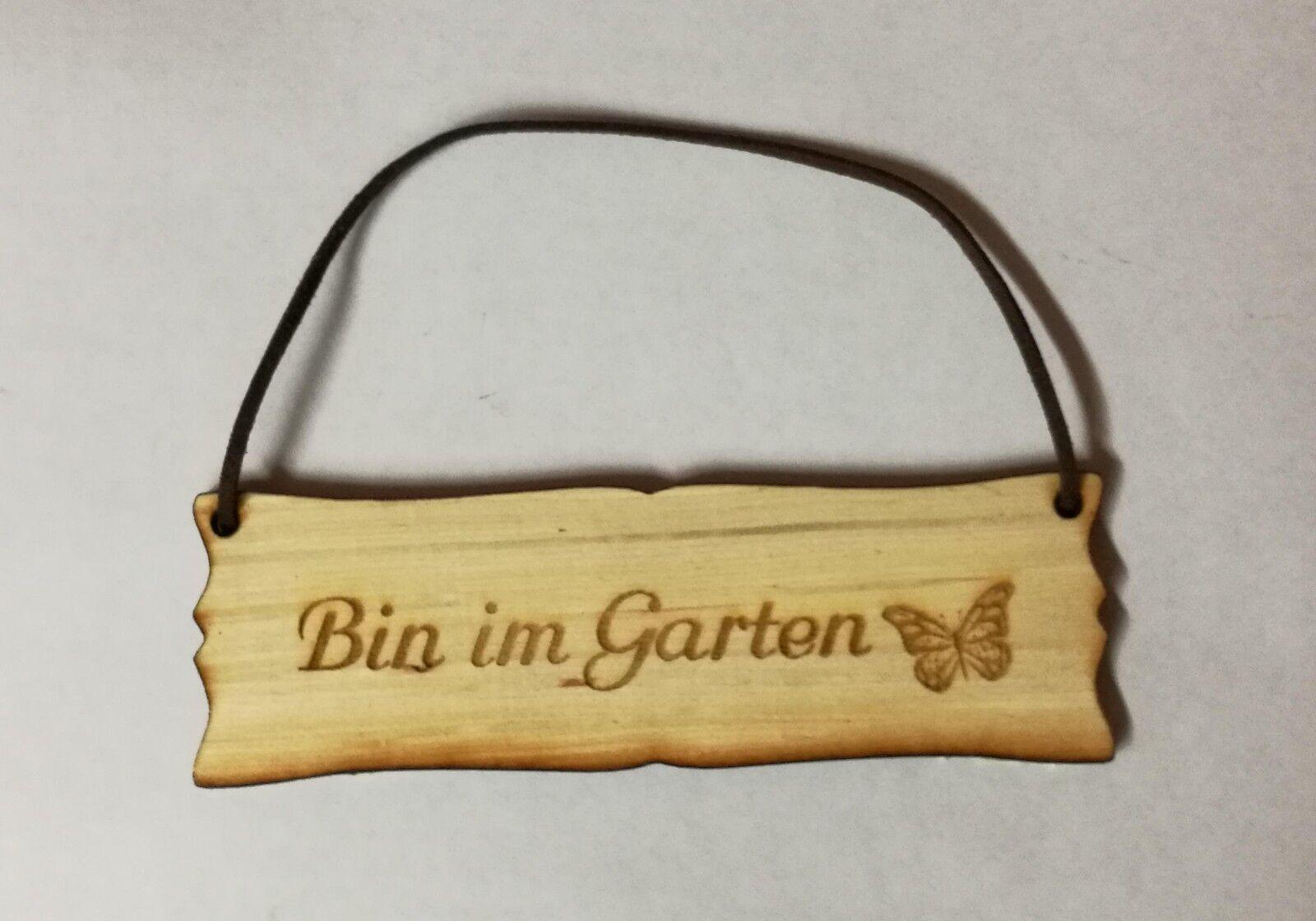 """Holzschild mit Lederband  """"Bin im Garten"""" Holz Türschild Shabby mit Grafik"""