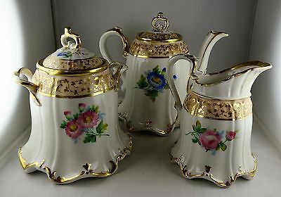 3 Pcs Paris Porcelain Full Tea Set - Floral Design, Gold Decoration