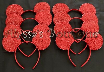 50 pcs Minnie Mickey Mouse Ears Headbands Shiny RED Birthday Party Favors DIY](Diy Mickey Mouse Party)