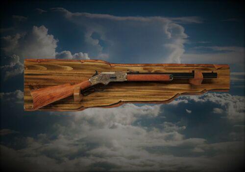 Rustic Wood Gun Rack Wall Mount Lever Action Western Rifle Display Gift