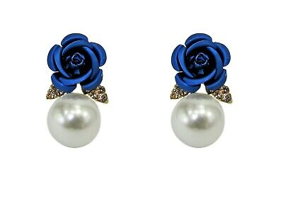 Blue Rose Earrings with Pearl and Crystals Fashion Earrings - New