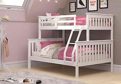 Childs Slat - Twin over Full Mission Bunk Bed - White -Kids Furniture with FREE Slat Kits