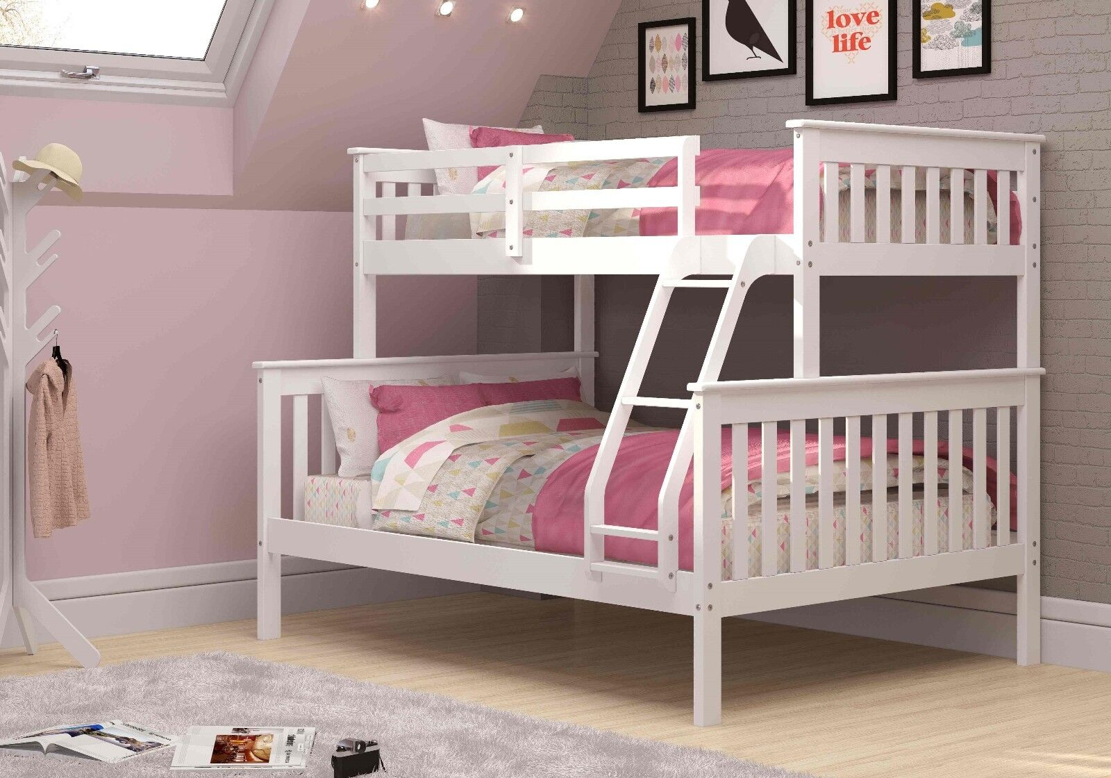 Twin over Full Mission Bunk Bed - White -Kids Furniture ...