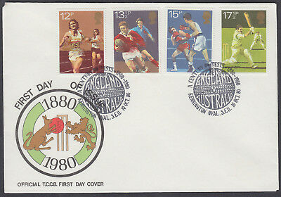 1980 Sport Stamp Publicity Official FDC;Century of Test Cricket Kennington Oval