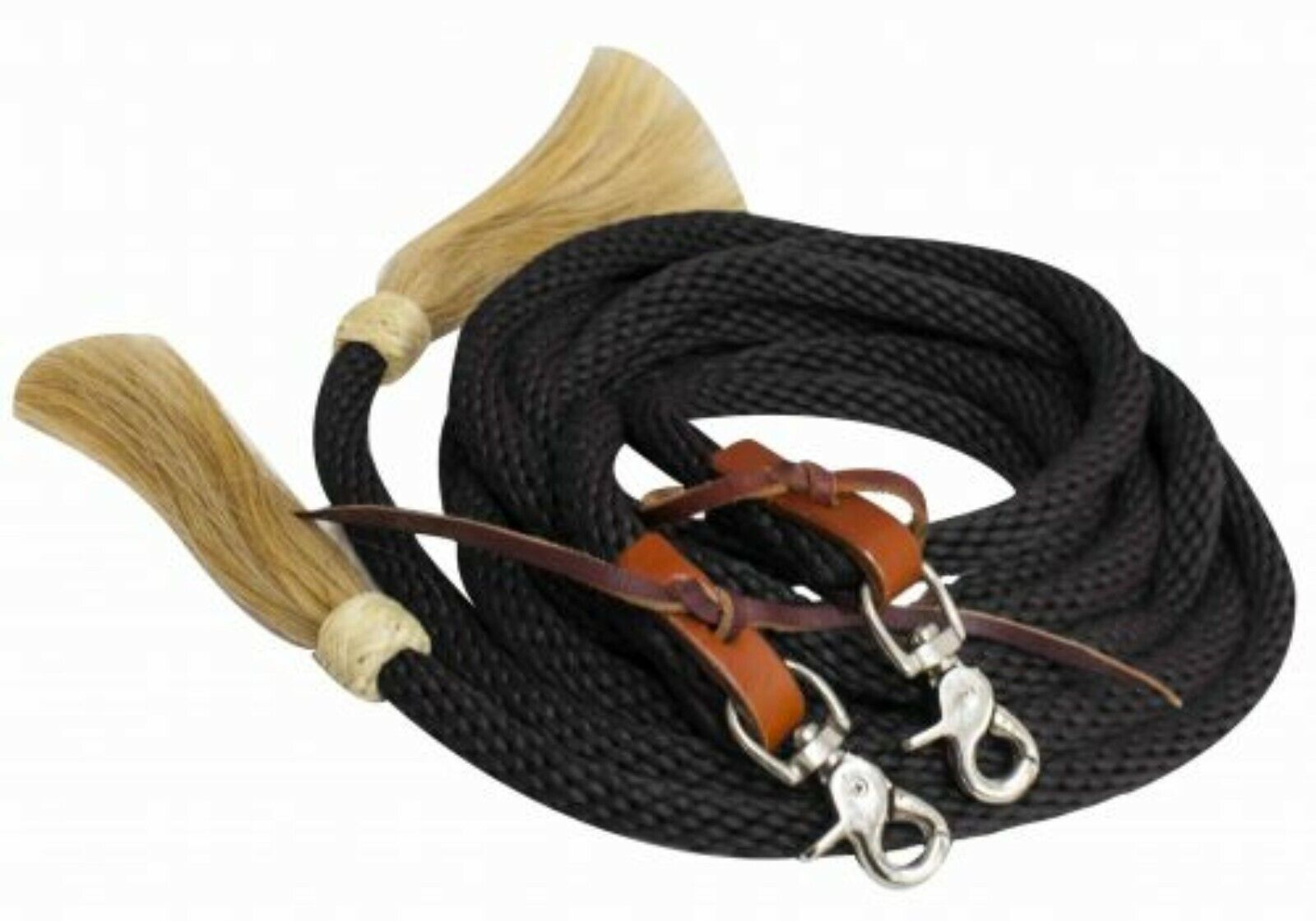 Showman BLACK 8/' Braided Nylon Western Rein w// Tassels! NEW HORSE TACK!!