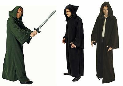 Kostüm Kutte Umhang Mittelalter mit Kapuze schwarz braun grün Halloween Karneval