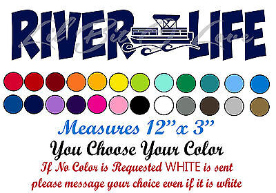 River Life Pontoon Vinyl Decal Sticker Party Boat For Car Auto Vehicle