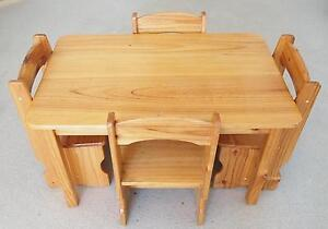 solid wood childrens table and chairs Ocean Reef Joondalup Area Preview