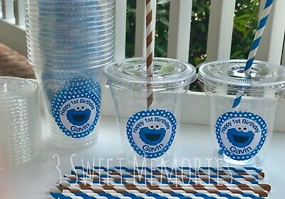 24- Personalized Cookie Monster Plastic Party Cups Lids and Straws Sesame
