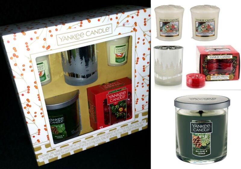 Yankee Candle Tumbler Balsam Cedar&Flicker Forest Holder Holiday Votive&TeaLight