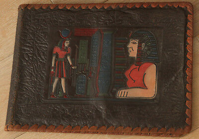 VINTAGE EGYPTIAN BROWN TOOLED & PAINTED LEATHER ALBUM TAN LEATHER STITCH 1940's