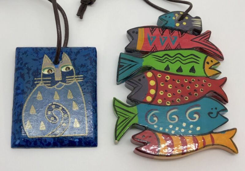 Laurel Burch Fish & Cat Wooden Ornaments, Tote Bag or Purse Tags (RF942)