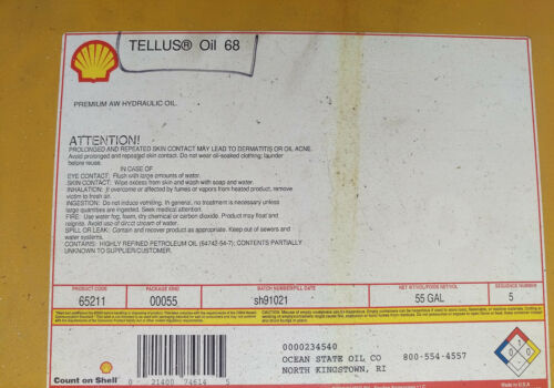 5 GAL PAIL OF SHELL INDUSTRIAL OILS TELLUS 11-33-68, TONNA 68, VITREA 31 (68)
