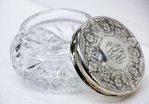 Antique Victorian Blackinton & Co. Cut Crystal Dresser Jar with Sterling Lid