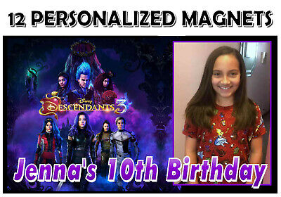 12 DISNEY DESCENDANTS 3 BIRTHDAY PARTY FAVORS PHOTO MAGNETS Birthday Party Favors Photo