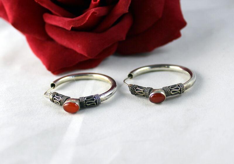 Sterling Silver Red Cabochon HOops Pierced  Earrings  CAT RESCUE