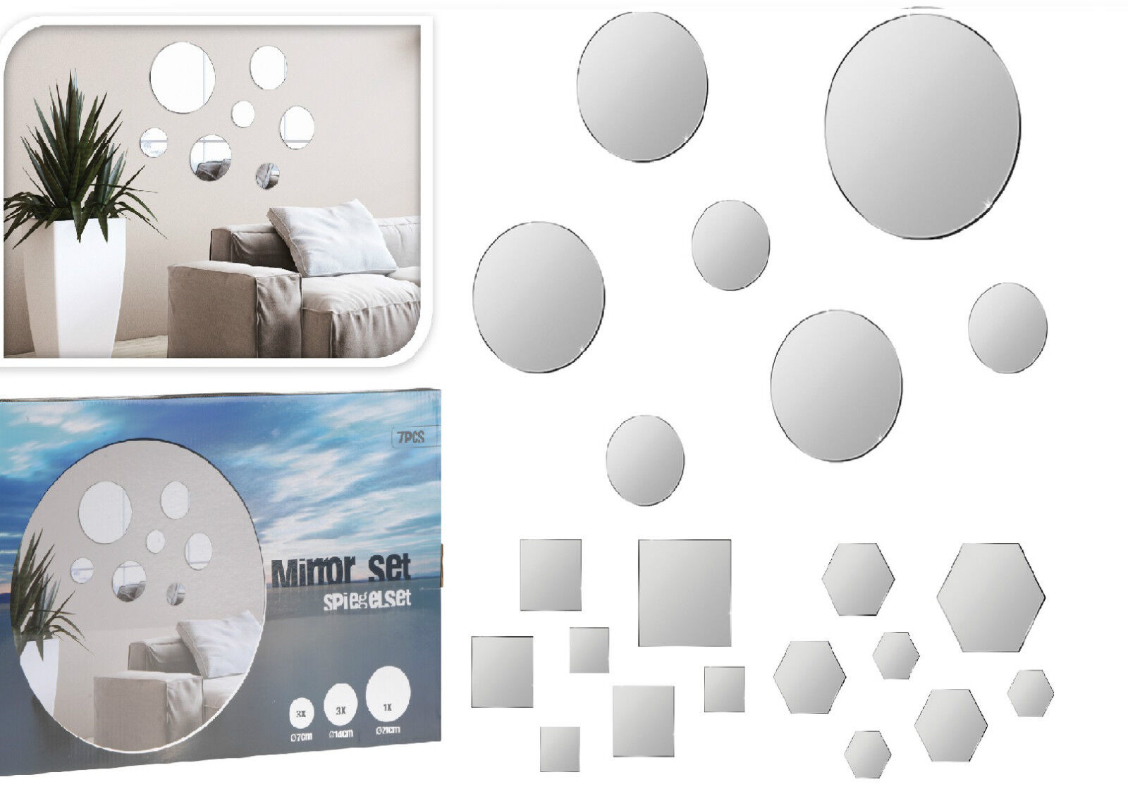 spiegel wandspiegel 7tlg spiegel zum kleben 4 eckig sp02. Black Bedroom Furniture Sets. Home Design Ideas