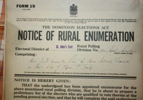 RARE 1949 BELL ISLAND NEWFOUNDLAND VOTER