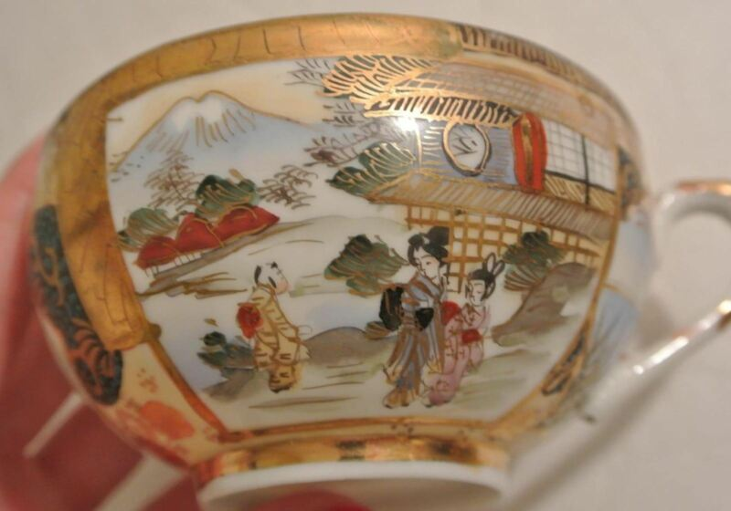 6 SETS RARE Japanese SIGNED Porcelain LITHOPHANE GEISHA Satsuma Teacup Saucer