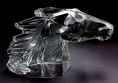 "Rare Vintage Daum ""Tete de Cheval"" Horse Head Crystal Glass Figurine Sculpture"