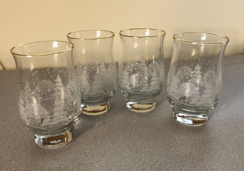 Libbey Set of 4 Etched Gold Rim Christmas Pine Trees Tumbler/Glasses