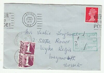 GB ACTON 1971 POSTAGE TO PAY COVER.Rfno.PD27.