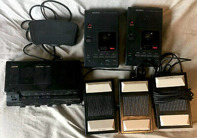 Transcriber Lot Of 3 - 2 Sony M-2020 1 Sanyo Trc 8080 4 Foot Pedals