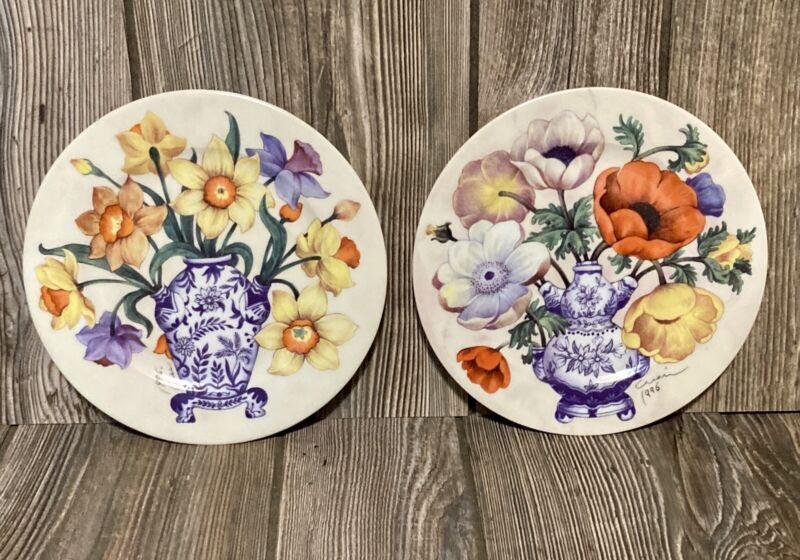 Vintage EMAIL DE LIMOGES GODINGER Floral And Tea Pot Decorative Plates Set Of 2
